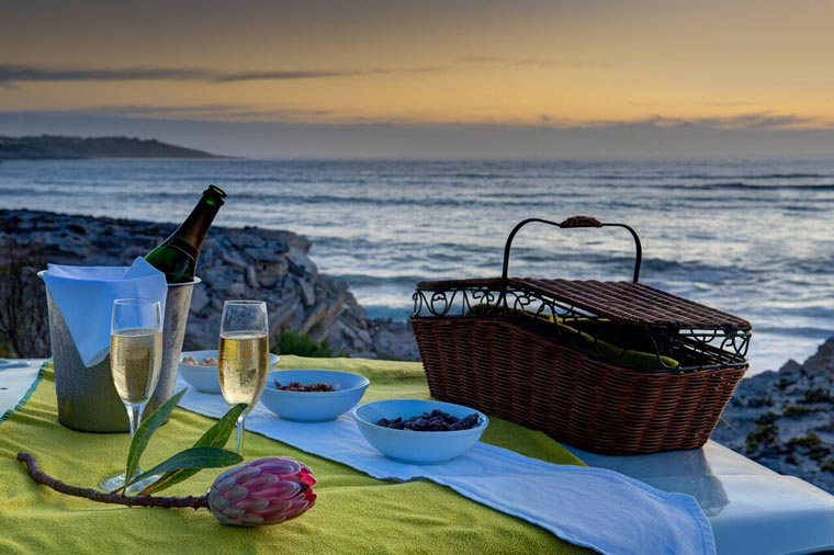 Romantic picnic on the beach