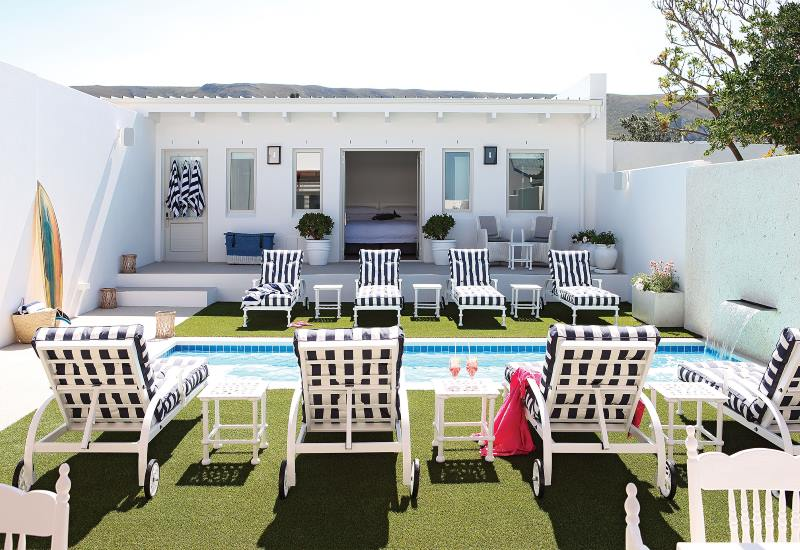 Swimming Pool and garden at One Marine Drive in Hermanus