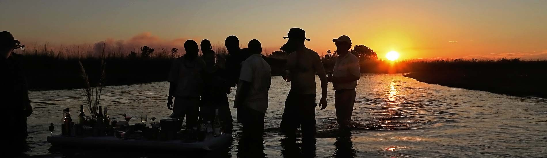 High Resolution Image: Botswana Safari Guides, having sundowners